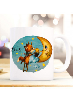 Tasse Becher Fuchs mit Mond Motiv & Wunschname Name individuell Kaffeebecher Kaffeetasse Geschenk ts1172