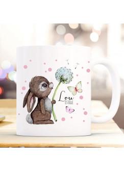 Tasse Becher Hase Häschen Pusteblume Schmetterlinge rosa Punkte & Wunschname Name Kaffeebecher Kaffeetasse Geschenk ts1173