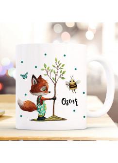 Tasse Becher Fuchs pflanzt Baum mit Biene & Wunschname Name Kaffeebecher Kaffeetasse Geschenk ts1174