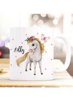Tasse Becher Pferd Pferdchen Schmetterling & Wunschname Name Kaffeebecher Kaffeetasse Geschenk ts1176