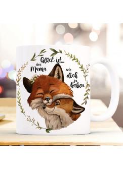 Tasse Becher Fuchsmama Fuchs Mama Füchschen Waldkranz & Spruch Glück ist eine Mama zu haben Kaffeebecher Teetasse Geschenk ts1177