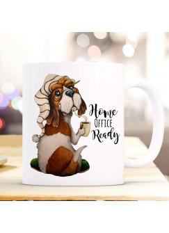 Tasse Kaffeetasse Becher Hund Hündchen Beagle Dog & Spruch Home Office Ready Bürotasse Kaffeebecher Teetasse Geschenk ts1178