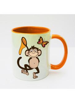 Tasse Affe Äffchen mit Fangnetz und Schmetterling ts131b