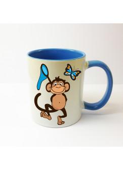 Tasse Affe Äffchen mit Fangnetz und Schmetterling ts132