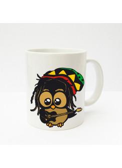Tasse Eule Eulchen Bob Marley Reggae Eule mit Gitarre ts139