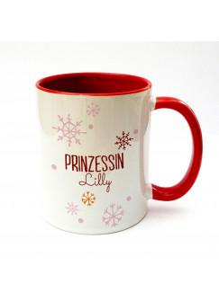 Tasse Prinzessin Lilly mit Schneeflocken Schneekristalle und Wunschname in rot ts160