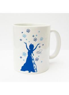 Tasse Schneeflocken Schneekristalle und Schneekönigin mit Wunschnamen blau ts167