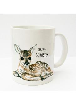 Tasse Reh Rehkitz Bambi mit Spruch Lieblingsschwester ts177
