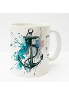 Tasse Anker mit Tau maritim blau pink ts180
