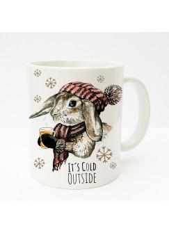 Tasse Kaninchen Hase mit Schal Mütze Tee und Spruch it's cold outside ts195