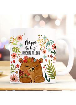 Tasse Becher Bär Bärchen Blumen & Spruch Mama du bist unentbärlich Kaffeetasse Kaffeebecher Geschenk Muttertag ts2000