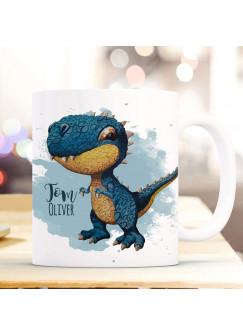Tasse Becher zum Schulanfang Schulstart Dino Dinosaurier T-Rex & Name Wunschname ts2012