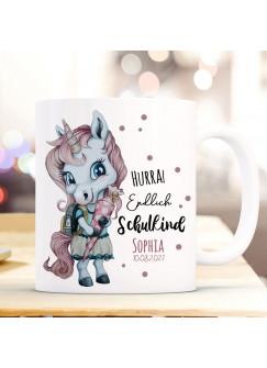 Tasse Becher zum Schulanfang Schulstart Einhorn Mädchen rosa Schultüte Spruch Hurra endlich Schulkind Name + Jahr ts2015