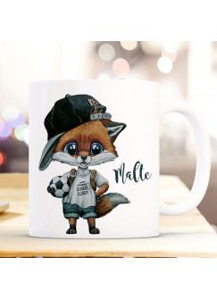 Tasse Becher zum Schulstart Fuchs Fußball Junge Schulkind Name Wunschname Kaffeebecher Kaffeetasse ts2017