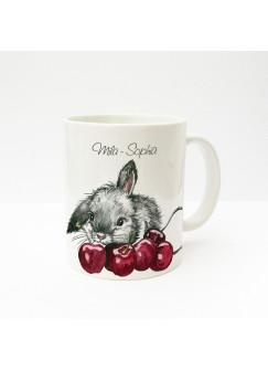 Tasse Häschen Kaninchen mit Kirschen und Wunschnamen ts228