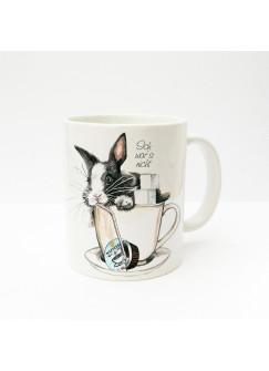 """Tasse Häschen Kaninchen im Kaffeebecher mit Zucker Sahne und Spruch """"Ich war's nicht"""" ts232"""