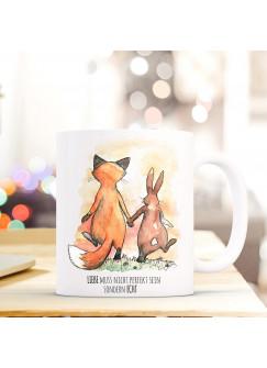 Tasse Hase und Fuchs mit Spruch Liebe muss nicht perfekt sein sondern echt ts287