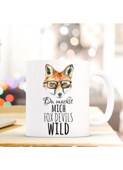 Tasse Fuchs mit Brille und Spruch du machst mich fox devils wild ts299