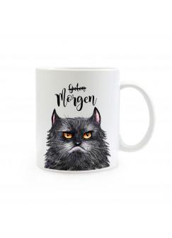 Tasse Becher grimmige Katze mit Spruch Guten Morgen ts358