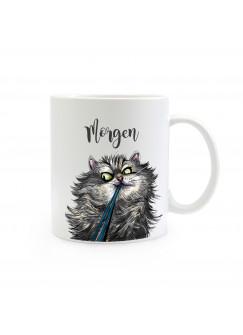 Becher Tasse Katze mit Spruch Morgen! ts384