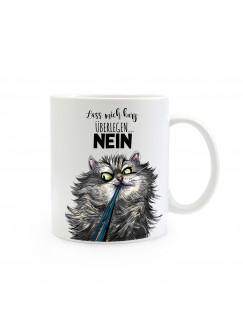 Tasse Becher Katze Kater mit Spruch Lass mich kurz überlegen... NEIN ts387