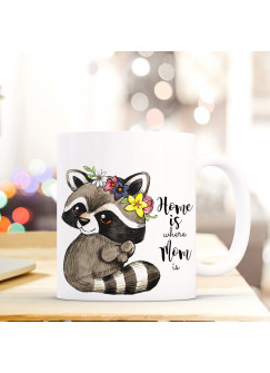 Tasse Becher Waschbär mit Spruch Home is where your mom is ts423