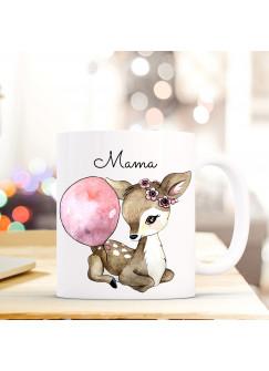 Tasse Becher Kaffeetasse Reh mit Luftballon und Spruch Mama ts426