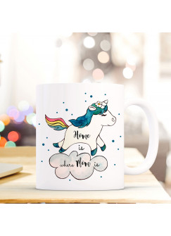 Tasse Becher Kaffeetasse Einhorn mit Punkten und Spruch Home is where mom is ts429