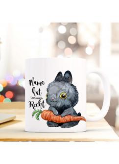 Tasse Becher Kaffeetasse Hase mit Karotte und Spruch Mama hat immer recht ts430