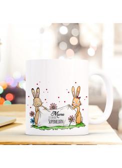 Tasse Becher Kaffeetasse Kaffeebecher zum Muttertag mit Hasen Punkten und Spruch Mama ist unsere Superheldin ts431