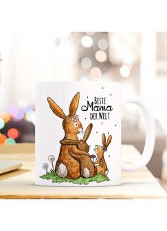 Tasse Becher Kaffeetasse Kaffeebecher zum Muttertag mit Hasen Punkten und Spruch Beste Mama der Welt ts432