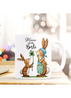 Tasse Becher Kaffeetasse Kaffeebecher zum Muttertag mit Hasen Punkten und Spruch Mama ist die Beste ts433