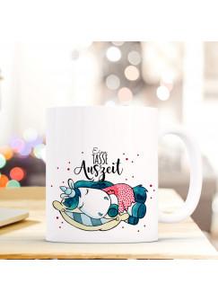 Tasse Becher Kaffeetasse Kaffeebecher zum Muttertag mit schlafendem Einhorn Punkten und Spruch Eine Tasse Auszeit ts434
