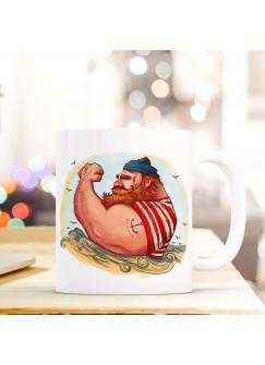Tasse Becher Kaffeetasse Kaffeebecher Maritim mit Kapitän Seemann und Anker Tattoo ts441