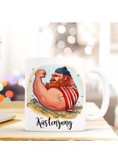 Tasse Becher Kaffeetasse Kaffeebecher Maritim mit Kapitän Seemann und Spruch Küstenjung ts443
