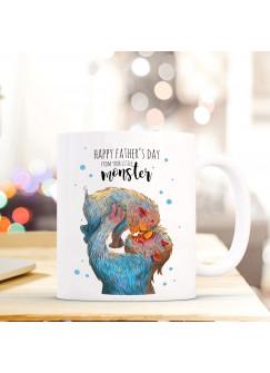 Tasse Vatertag Becher Kaffeetasse Kaffeebecher Monster mit Punkten und Spruch happy father's day from your little monster ts451