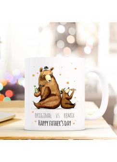 Tasse Vatertag Becher Kaffeetasse Kaffeebecher Bären mit Punkten und Spruch original vs remix happy father's day ts452