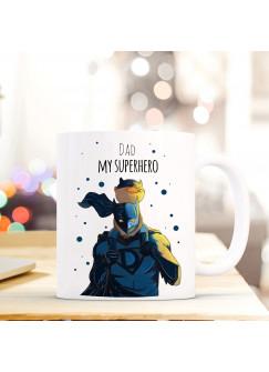 Tasse Vatertag Becher Kaffeetasse Kaffeebecher Superhelden mit Punkten und Spruch dad my superhero ts453