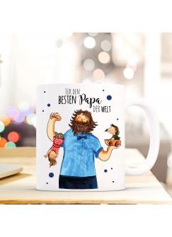 Tasse Vatertag Becher Kaffeetasse Kaffeebecher mit Vater Kindern Punkten und Spruch für den besten Papa der Welt ts454
