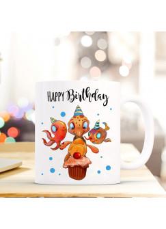 Tasse Becher Kaffeetasse Kaffeebecher Schildkröte mit Fisch Tintenfisch Punkten und Spruch Happy Birthday ts461