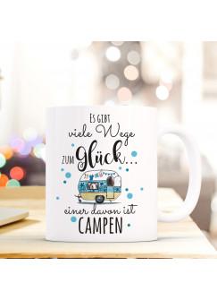 Tasse Becher Kaffeetasse Kaffeebecher Caravan mit Punkten und Spruch ... viele Wege zum Glück... einer davon ist campen ts463