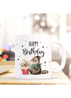Tasse Becher Kaffeetasse Kaffeebecher zum Geburtstag mit Waschbär Törtchen und Spruch Happy Birthday ts464
