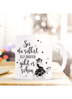 Tasse mit Spruch Becher Kaffeetasse Kaffeebecher Faultier und Schildkröte mit Spruch Sei du selbst... ts468