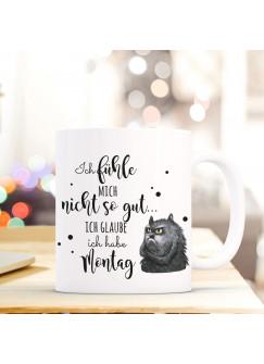 Tasse mit Spruch Becher Kaffeetasse Kaffeebecher Katze mit Spruch ...Ich habe Montag ts471