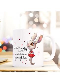Tasse mit Spruch Becher Kaffeetasse Kaffeebecher Bunny Hase mit Punkten & Spruch ...du machst das toll ts475