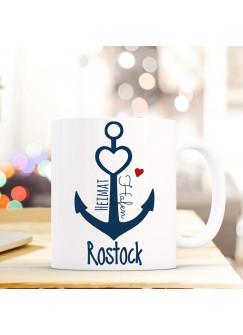 Tasse Anker Spruch Becher Kaffeetasse Kaffeebecher maritim mit Anker Herz und Spruch Heimathafen Rostock ts477