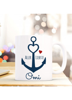 Tasse Anker Spruch Becher Kaffeetasse Kaffeebecher maritim mit Anker Herz und Spruch Aller Liebste Omi ts480