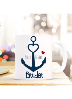 Tasse Anker Spruch Becher Kaffeetasse Kaffeebecher maritim mit Anker Herz und Spruch Aller Bester Bruder ts483