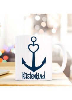 Tasse Anker Spruch Becher Kaffeetasse Kaffeebecher maritim mit Anker Herz und Spruch Aller Küstenkind ts484
