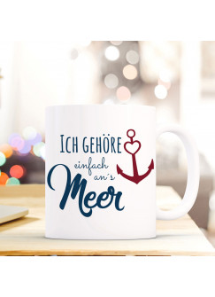 Ernährung Emaille Becher Camping Maritime Tasse Anker & Welle Mit Spruch Motto Ahoi Eb136 Baby